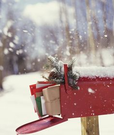 Christmas outdoors - holiday mailbox.