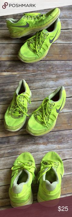 Men's Nike Lunarlon Shoes size 13 Men's neon yellow Nike lunarlon athletic shoes. These have been worn a lot and show normal wear but they still have a lot of life left! Nike Shoes Athletic Shoes