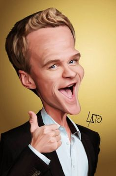 🌻 For more great pins go to Cartoon Faces, Funny Faces, Cartoon Drawings, Cartoon Art, Neil Patrick Harris, Funny Caricatures, Celebrity Caricatures, Celebrity Drawings, Caricature Artist