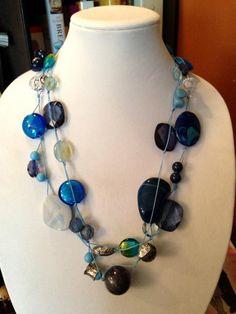 Bohemian Beaded Necklace  Blue Tones by TrishAnnes.com $22.50