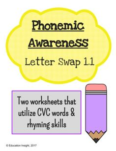 Reading skills worksheet, reading worksheet, CVC words, rhyming, rhyme, short vowel words, ending consonantsPhonemic Awareness Letter Swap WorksheetPlease enjoy this set of 2 worksheets that support CVC word recognition, and also utilizes rhyming skills.Students are called to read a CVC word, and swap the ending letter to create a new CVC word that rhymes with another given word.Eye-catching clip-art makes this product fun and engaging for beginning readers!