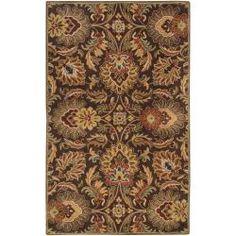 Hand-tufted Alafia Chocolate Brown Floral Wool Rug (4 x 6)
