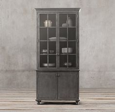 Annecy Metal-Wrapped Double-Door Glass Sideboard & Hutch