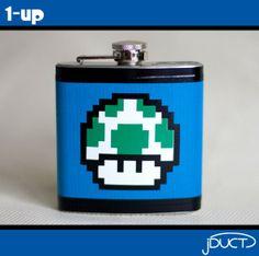 1 up flask Flask, Barware, Stuffed Mushrooms, Geek Stuff, Unique Jewelry, Handmade Gifts, My Favorite Things, Etsy, Video Games