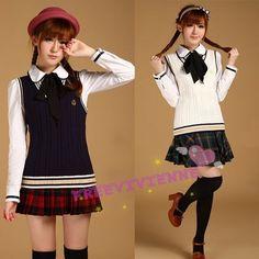 Japanese School Uniform school girl sweater vest tank top shirt #Unbranded #VNeck
