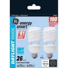 GE Energy Smart 26W Daylight Compact Fluorescent Bulbs #GElighting
