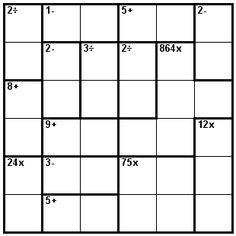 Number Logic Puzzles: 21959 - Kenken size 6