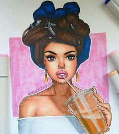 Diner Girl Brown Hair Red Bandana, Milkshake, Diner Booth Background Medium Skin Tones Pink and yellow highlight Red/Pink Eyeshadow Pink Lips Black Girl Art, Black Women Art, Art Girl, African American Art, African Art, Art Sketches, Art Drawings, Natural Hair Art, Black Artwork