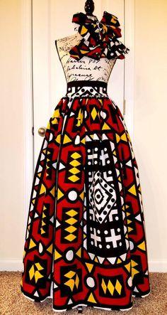 Artículos similares a Custom Made African Print Ankara Maxi High Waist Skirt with Bow Tie or Head Wrap en Etsy Africanstylesforladies - African Styles for Ladies African Print Skirt, African Print Dresses, African Fashion Dresses, African Attire, African Wear, African Dress, Fashion Outfits, African Prints, African Style