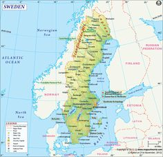 Political map of Sweden illustrates the surrounding countries with international borders, 21 counties boundaries with their capitals and the national capital. Sweden Cities, Sweden Map, Kingdom Of Sweden, Stockholm Archipelago, Country Maps, Travel Maps, Crypto Currencies, Study Materials, City Maps