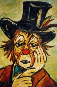 CLOWN TRISTE (Painting),  24x33 cm przez Catherine WERNETTE Tristesse de clown.