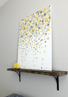 Easy DIY: gray and yellow dot painting.    May try red and gray for the kids bathroom.