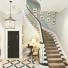 Entry foyer and stairwell soft blue and white. Entry foyer and stairs. Black Interior Doors, Black Doors, Foyers, Painted Wood Floors, Painted Stairs, Style Parisienne, Enchanted Home, Stairway To Heaven, Interiores Design