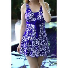 $21.96 Trendy V-Neck Printed One-Piece Swimsuit For Women