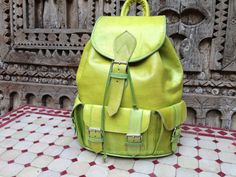 Handmade Lim Green Leather Backpack with 3 front pockets