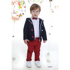Boy's Navy Jacket-Red Tousers Formal Outfit with Bow Tie-Mi Chiamo Collection Navy Jacket, Summer Collection, Baby Dress, 3 Piece, Spring Summer, Bows, Formal, Red, Jackets