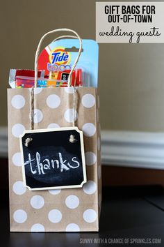 Wedding Gift Etiquette Out Of Town Guests : Gift Bags for Out-of-Town Wedding Guests - Sunny with a Chance of ...