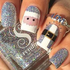 Best Christmas Nails for 2017 - 64 Trending Christmas Nail Designs - Best Nail Art - Tap the link now to get your teeth whitening kit for FREE! Santa Nails, Xmas Nails, Diy Nails, Christmas Nail Art Designs, Holiday Nail Art, Xmas Nail Art, Holiday Makeup, Christmas Acrylic Nails, Disney Christmas Nails