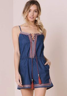 8905d106fb Missyempire Nami Blue Denim Embroided Trim Playsuit