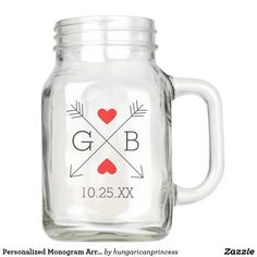 Personalized Monogram Arrows and Hearts Wedding Mason Jar