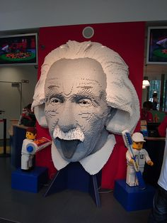 Albert Einstein's head made out of LEGOs at LEGOLAND Berlin. Photo by Flickr user colb (Colby Jordan).
