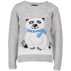 Boohoo Lola Kids Polar Bear Christmas Jumper (680 INR) ❤ liked on Polyvore featuring tops, sweaters, silver, flat top, sequin top, christmas jumpers, party jumpers and turtleneck sweater