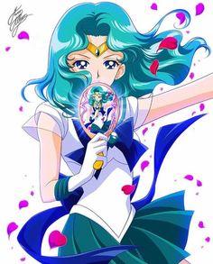 Sailor Neptune with her Deep Aqua Mirror. Sailor Moon Sailor Stars, Sailor Pluto, Sailor Jupiter, Sailor Moon Crystal, Sailor Venus, Cristal Sailor Moon, Sailor Moon Drops, Arte Sailor Moon, Sailor Moon Fan Art