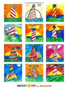 Luminating Lighthouses www.square1art.com/fundraisers #square1art  @Square 1 Art Square 1 Art, Art Classroom Management, 3rd Grade Art, Grade 2, Seaside Art, Lighthouse Art, Classroom Art Projects, First Art, Art Lessons Elementary