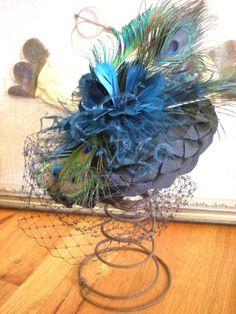 Peacock Feather Hat: Mini Hat - Fascinator - Victorian - Steampunk - Steampunk Fashion - Wedding Fascinator - Bridal Fascinator. $120.00, via Etsy.