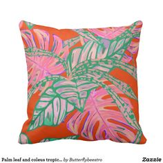 Shop Palm leaf and coleus tropical fire pillow created by Butterflybeestro. Coral Pillows, Bed Pillows, Tropical Design, Fire And Ice, Bathroom Sets, Coral Pink, Free Sewing, Custom Pillows, Palm