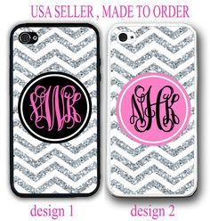PERSONALIZED PINK CHEVRON (w/out glitter) MONOGRAM CASE FOR IPHONE 6S 6 SE 5S 5C #UnbrandedGeneric
