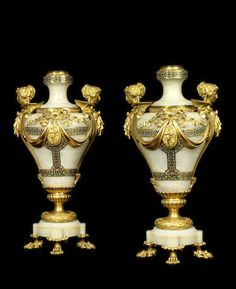 A pair of French late 19th century gilt bronze, onyx and cloisonné vases, mounted as lamps  probably by Barbedienne, Paris