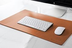 TOP-RATED-Modeska-24x14-Leather-Desk-Pad-Executive-Blotter-and-Protective-Mat-Mouse-Pad-Brown-0-2