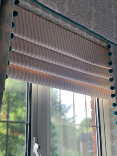 Pretty Roman blind handmade in Zinal stripe rose. Soft Furnishings, Interior, Redecorating, Curtains, Roman Blinds, Interior Designers, Fabric Wallpaper, Blinds, Furnishings