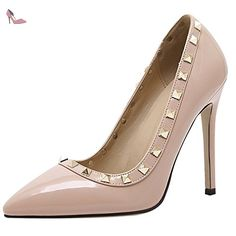 Oasap Women's Pointed Toe Low Top Slip-on RIvet Pumps, Apricot EURO38/US7/UK5 - Chaussures oasap (*Partner-Link)