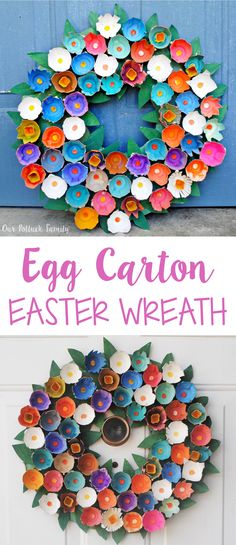 Step-by-step directions to create a beautiful egg carton wreath for Easter.