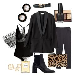 """Sexy in Black"" by online-saberviver on Polyvore featuring Lancôme, Bobbi Brown Cosmetics, Zara, Lipsy, Clare V., H&M, OPI, Chanel and MANGO"