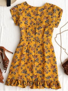 Plunging Neck Ruffles Floral Print Dress - EARTHY S
