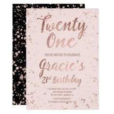 21st Birthday Invitations Faux Rose Gold Confetti Blush Name Card