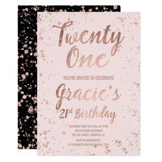 21st Birthday Invitations Faux Rose Gold Confetti Blush Name Card 16th Decorations