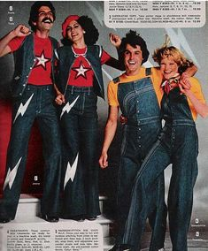 1970's.  Can't decide between the lightning bolt jeans or the rainbow-stitched overalls...