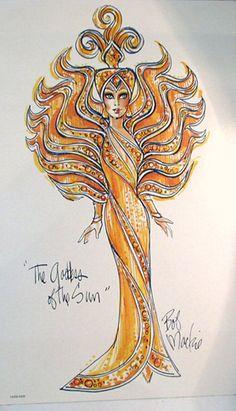 Bob Mackie sketch of Goddess of the Sun Barbie.