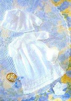 circular shawl christening dress and matinee coat set vintage knitting pattern baby PDF instant download