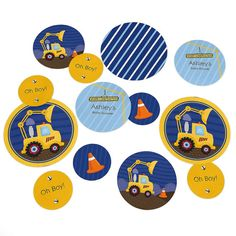 Construction Truck Confetti Kit - Extra Large Party Circles for a Baby Shower or Birthday Party