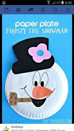 Paper plate Frosty the Snowman craft for kids to make.