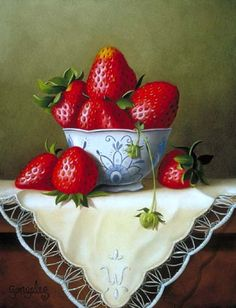 Strawberry Bowl by George A. Fruit And Veg, Fruits And Veggies, Vegetables, Image Fruit, Still Life Fruit, Fruit Painting, Fruit Art, Still Life Photography, Food Art