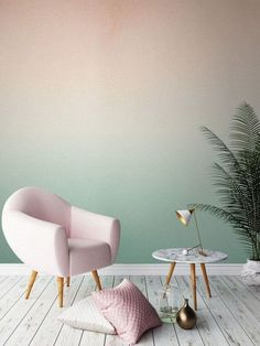 Two Colored Wall Design Ombre Wall Color Wallpaper Creative Fashion