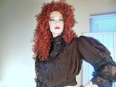 Steampunk Edwardian Shirtwaist- Blouse Black Over Taffetta
