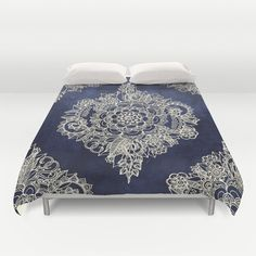 Duvet Cover featuring Cream Floral Moroccan Pattern On Deep In… by Micklyn