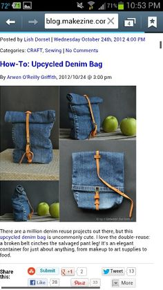 Upcycled denim jeans bag with belt closure.